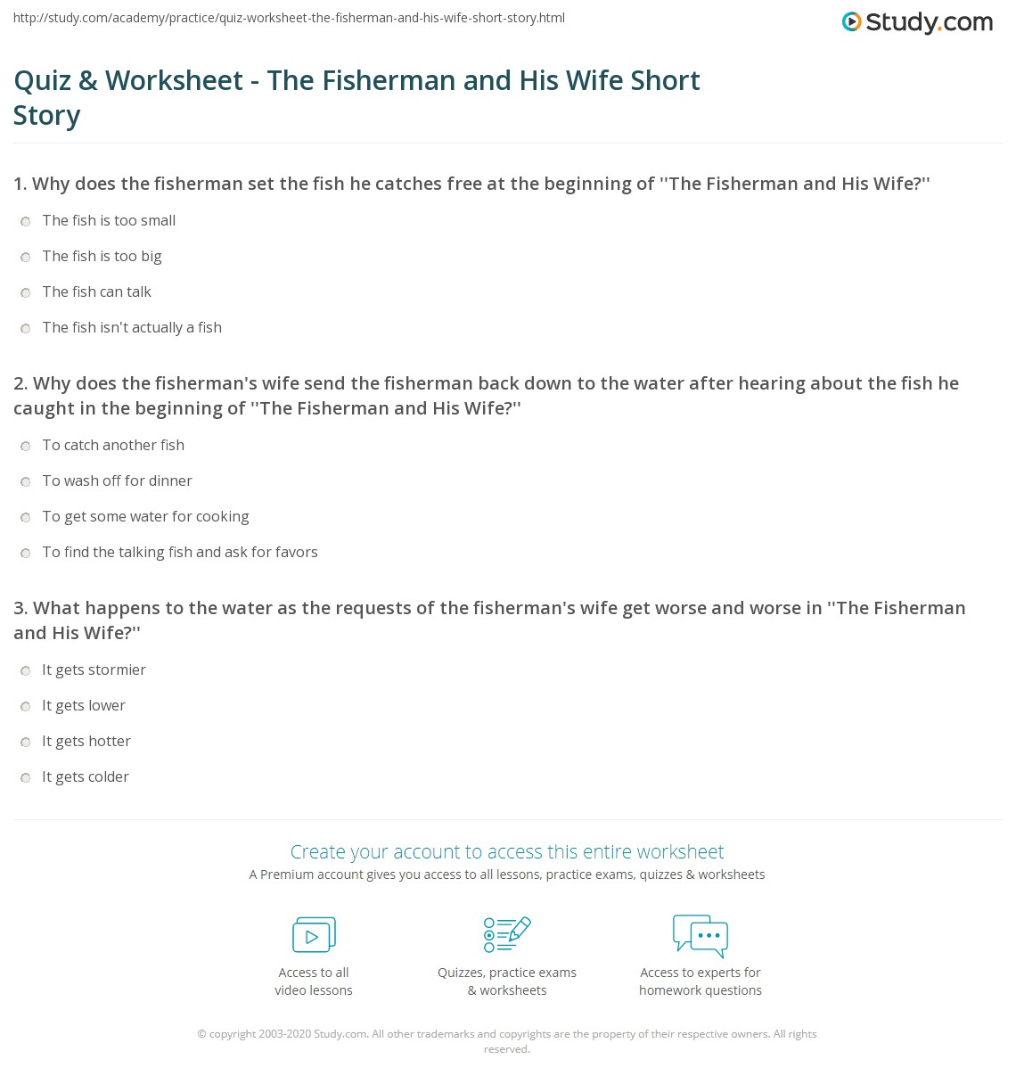 Quiz & Worksheet - The Fisherman and His Wife Short Story | Study com