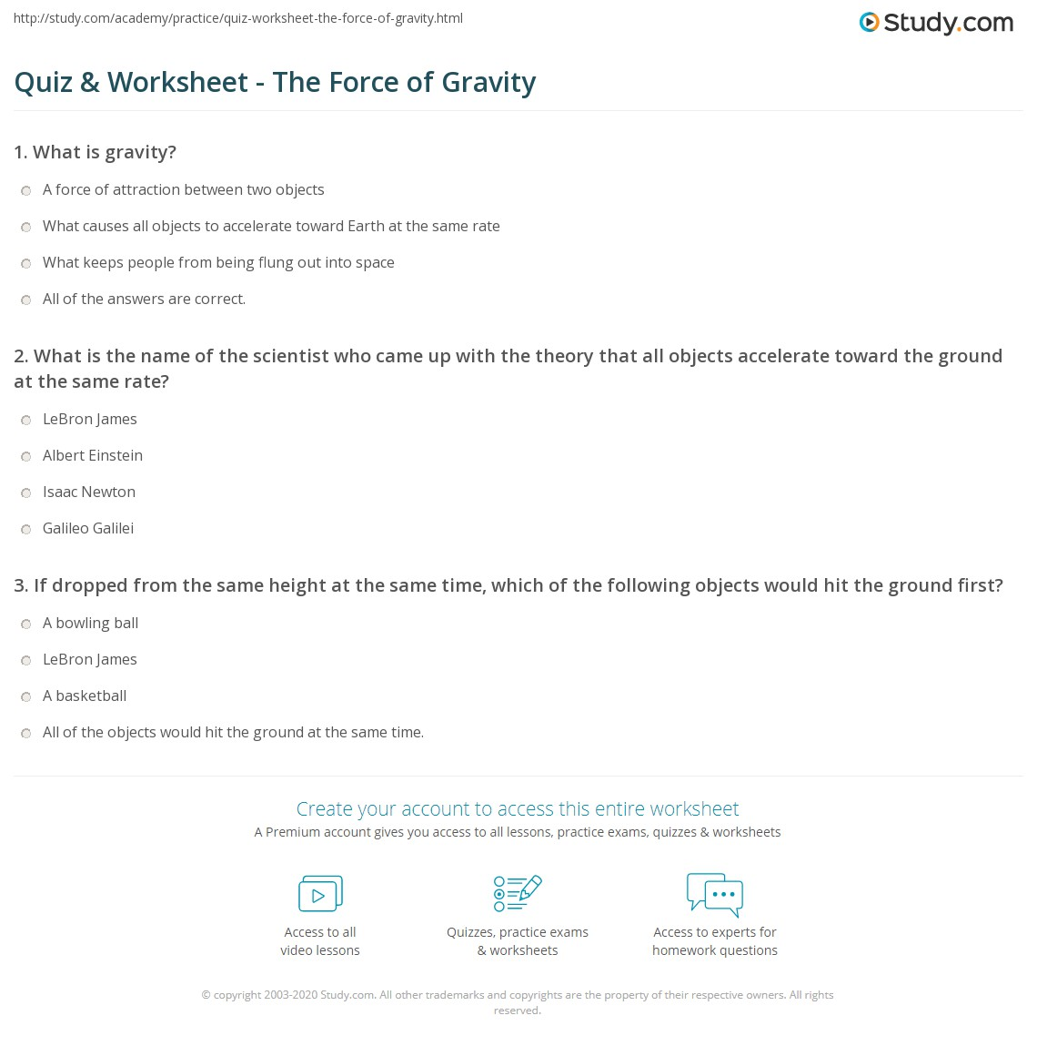 Worksheets Gravity Worksheets quiz worksheet the force of gravity study com print what is definition equation worksheet