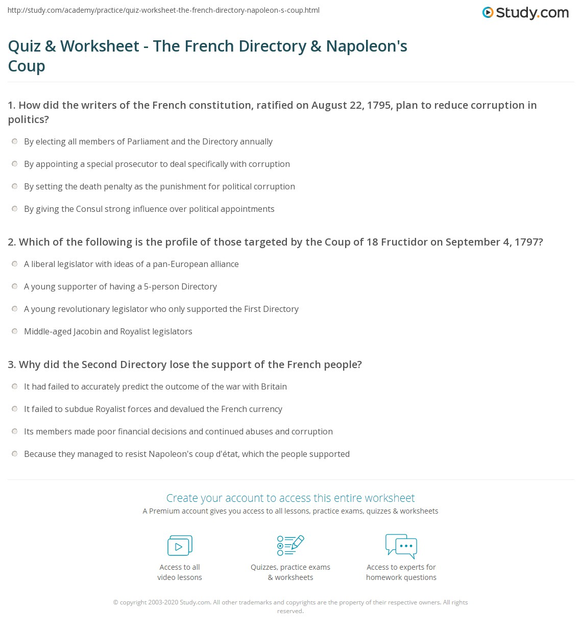 worksheet Constitutional Convention Worksheet quiz worksheet the french directory napoleons coup study com print 1795 1799 first second of 18 fructidor worksheet
