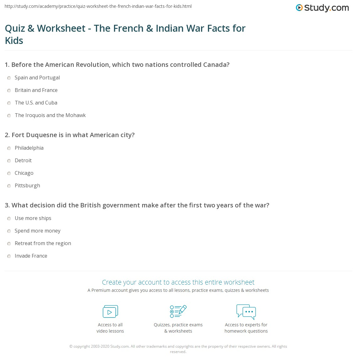 Quiz Worksheet The French Indian War Facts for Kids – French and Indian War Worksheets