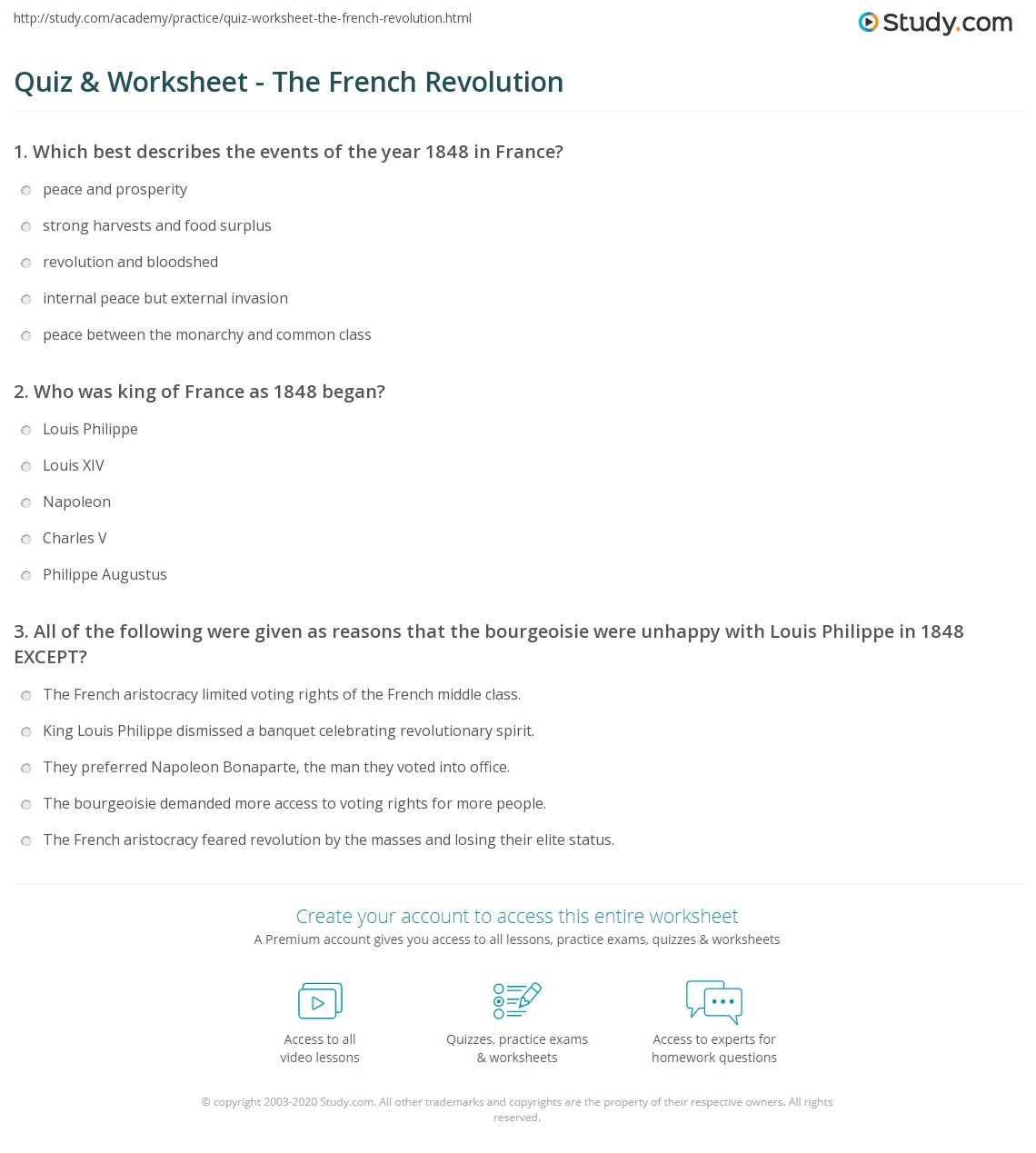 Quiz Worksheet The French Revolution Study Com