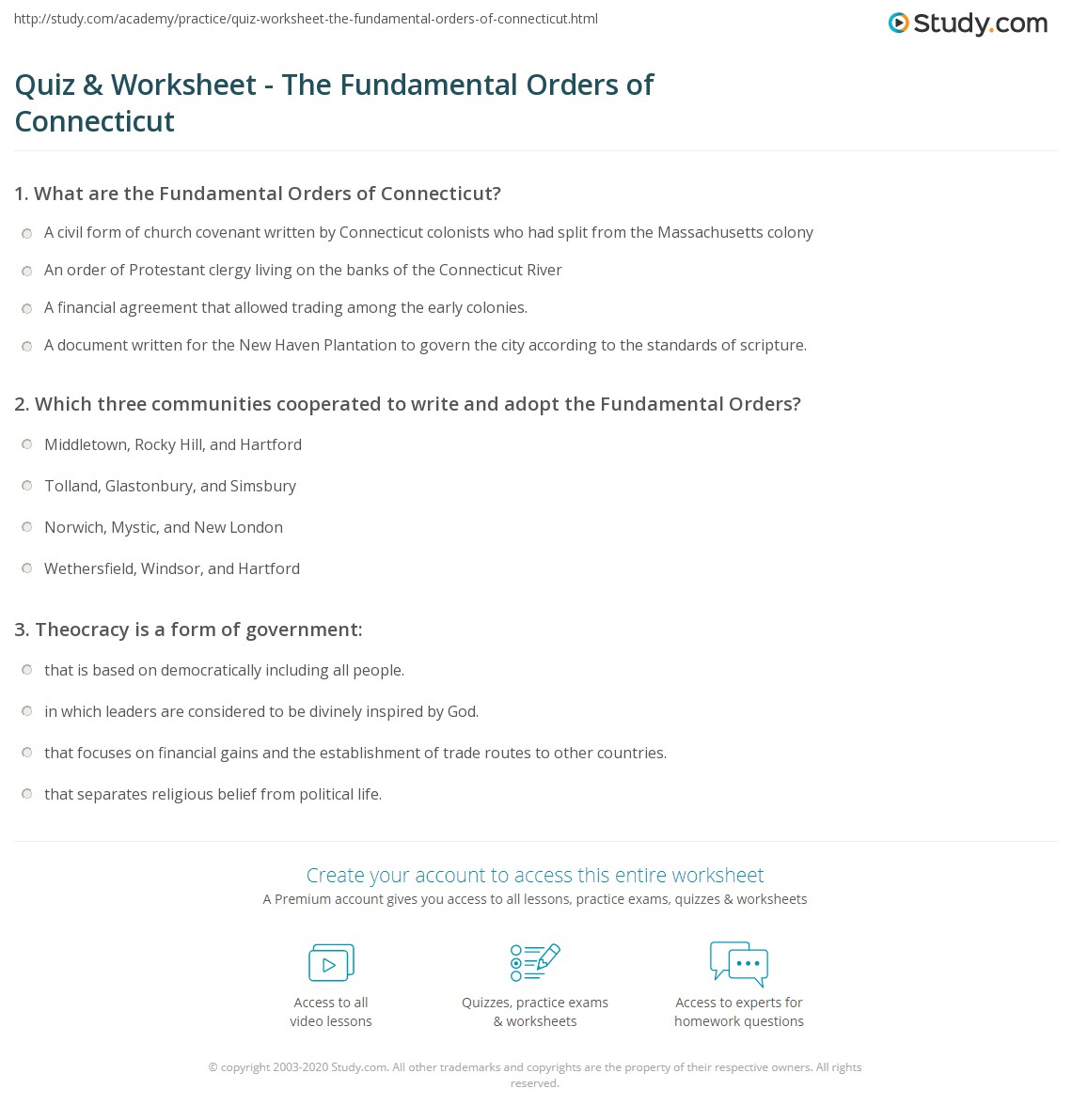 quiz worksheet the fundamental orders of connecticut. Black Bedroom Furniture Sets. Home Design Ideas