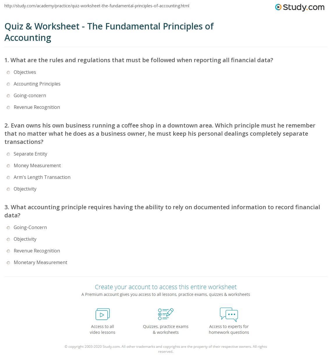 Quiz Worksheet The Fundamental Principles of Accounting – Accounting Worksheet
