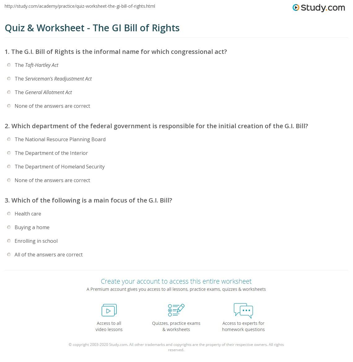 Worksheets Bill Of Rights Worksheets quiz worksheet the gi bill of rights study com print definition benefits worksheet
