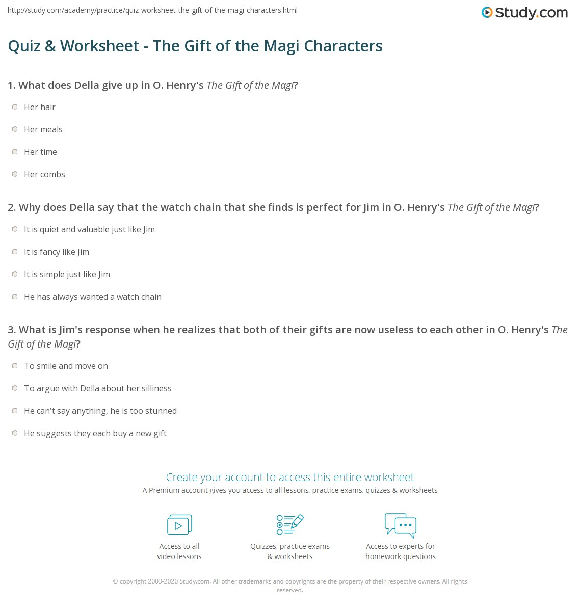 Quiz & Worksheet - The Gift of the Magi Characters | Study com