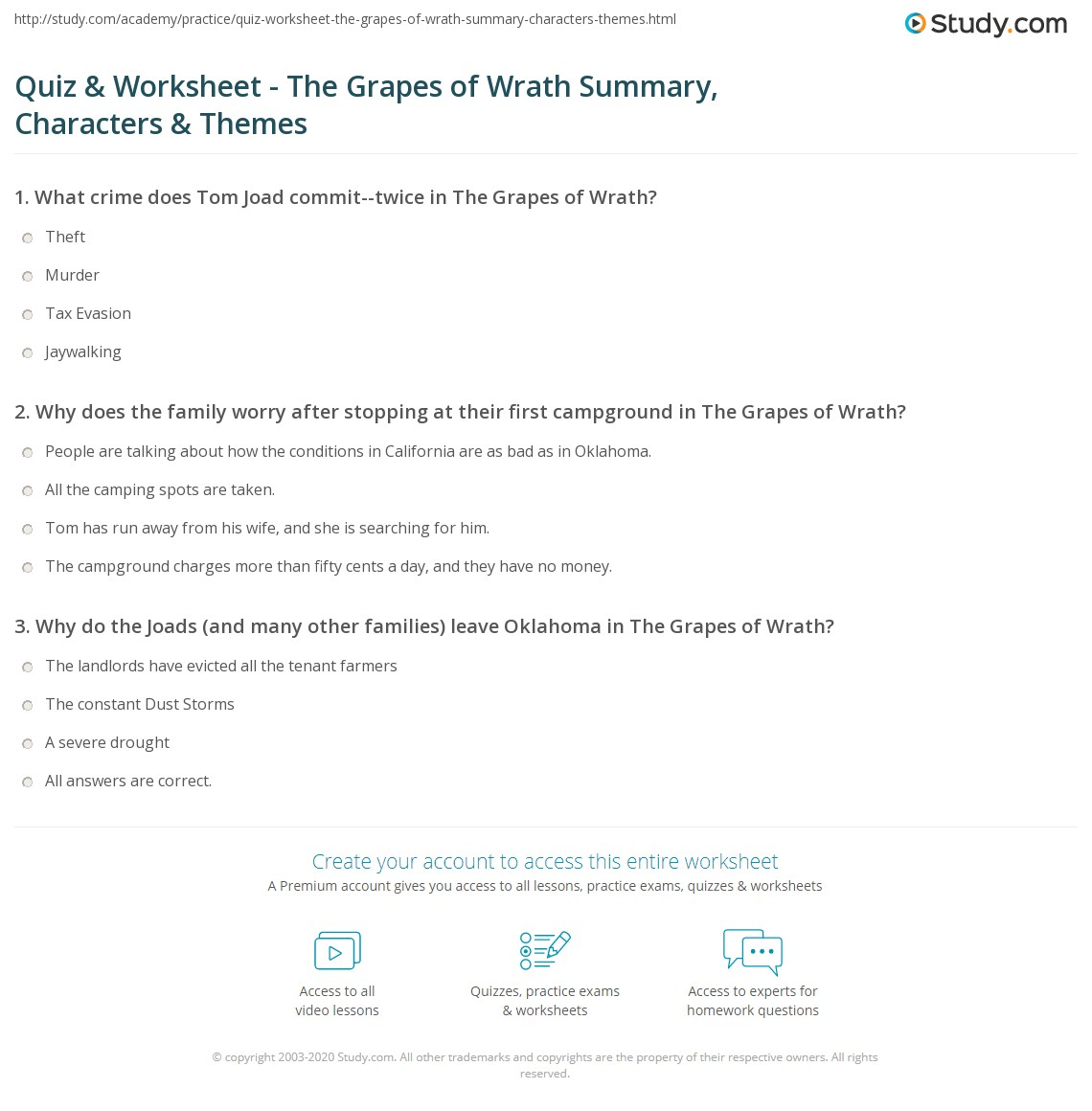 quiz worksheet the grapes of wrath summary characters themes. Black Bedroom Furniture Sets. Home Design Ideas