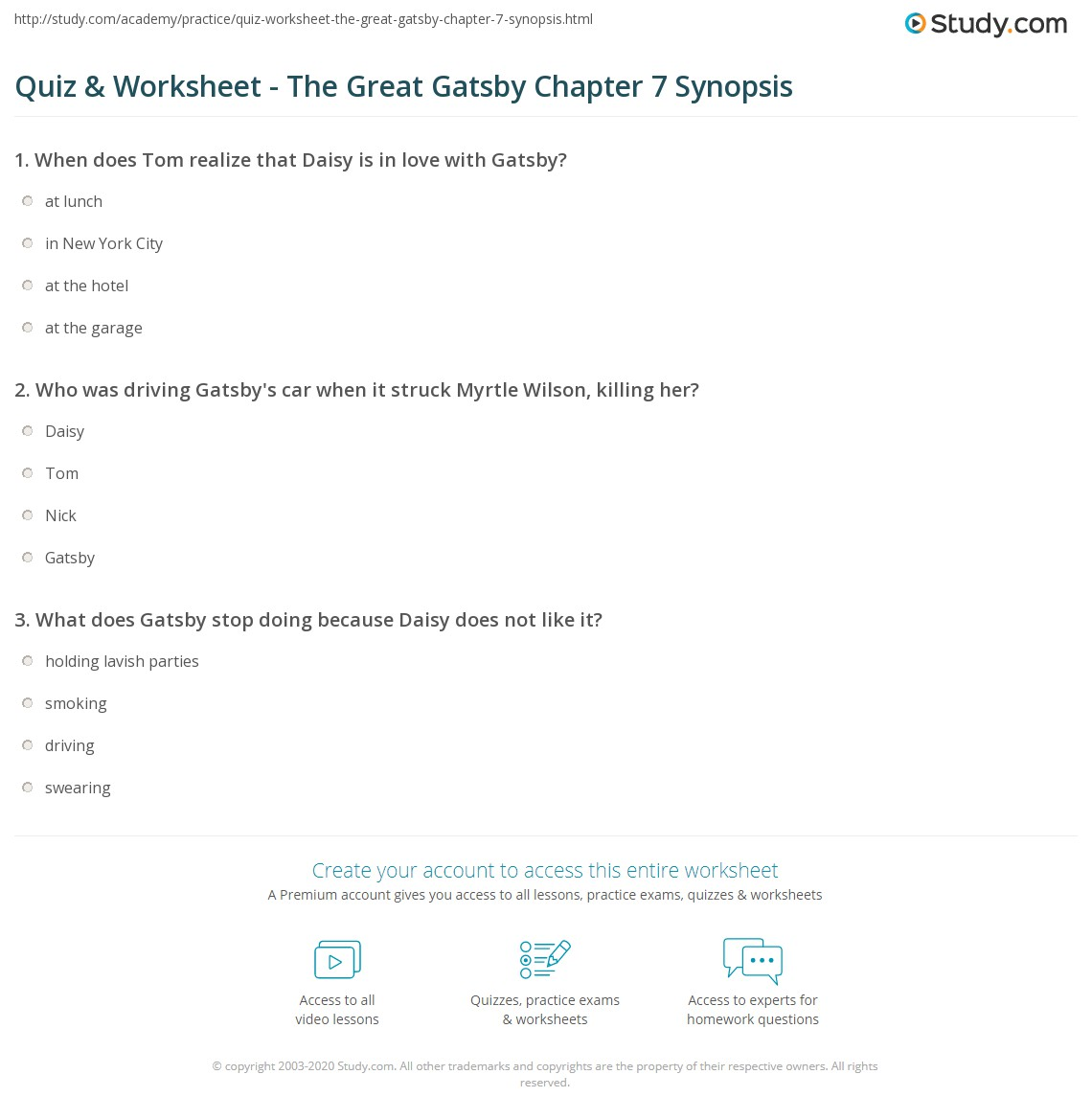 quiz worksheet the great gatsby chapter 7 synopsis study com rh study com Guided Questions Asnwer Key Writing Guiding Questions