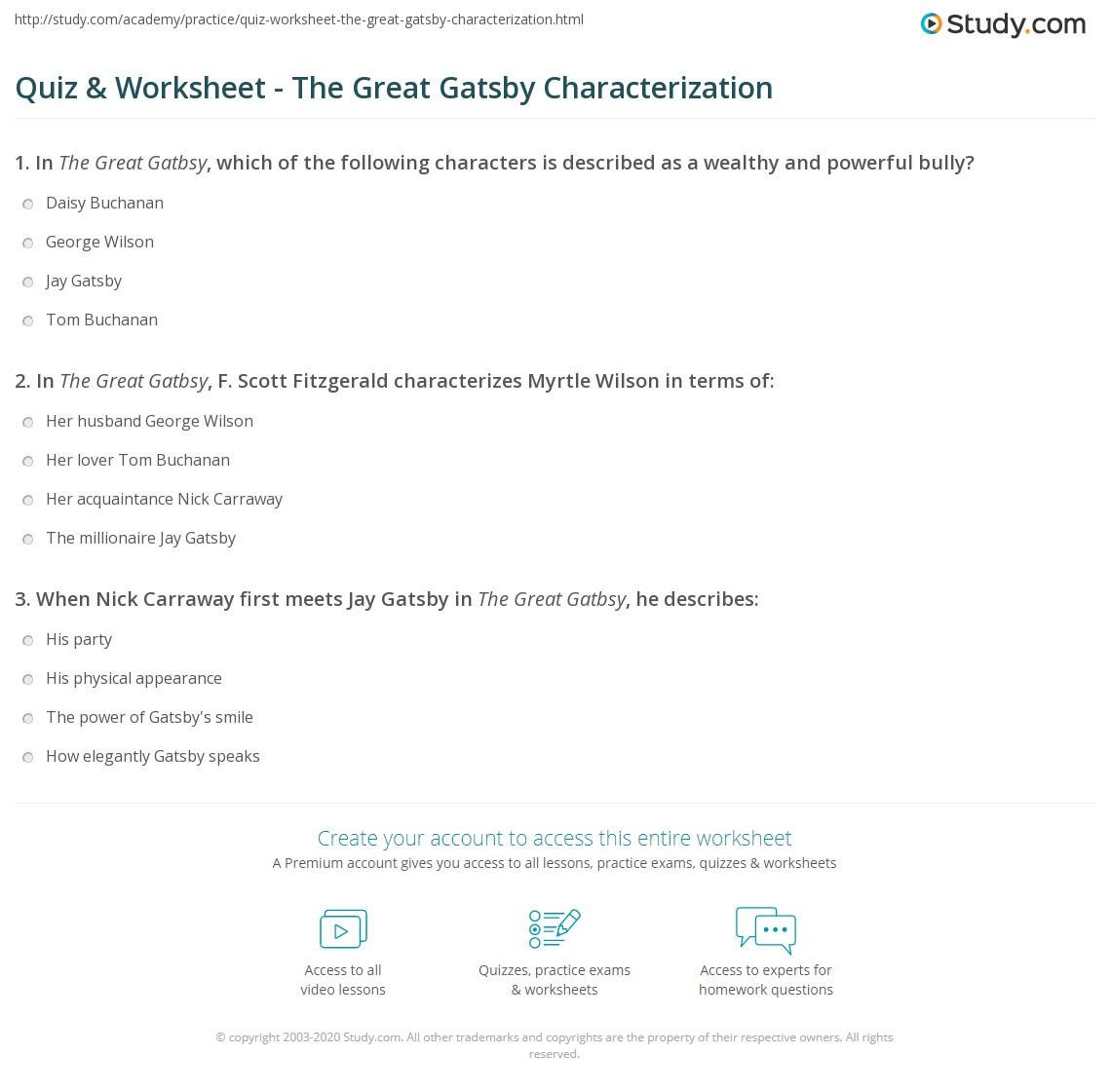 Quiz  Worksheet  The Great Gatsby Characterization  Studycom Print Characterization In The Great Gatsby Worksheet