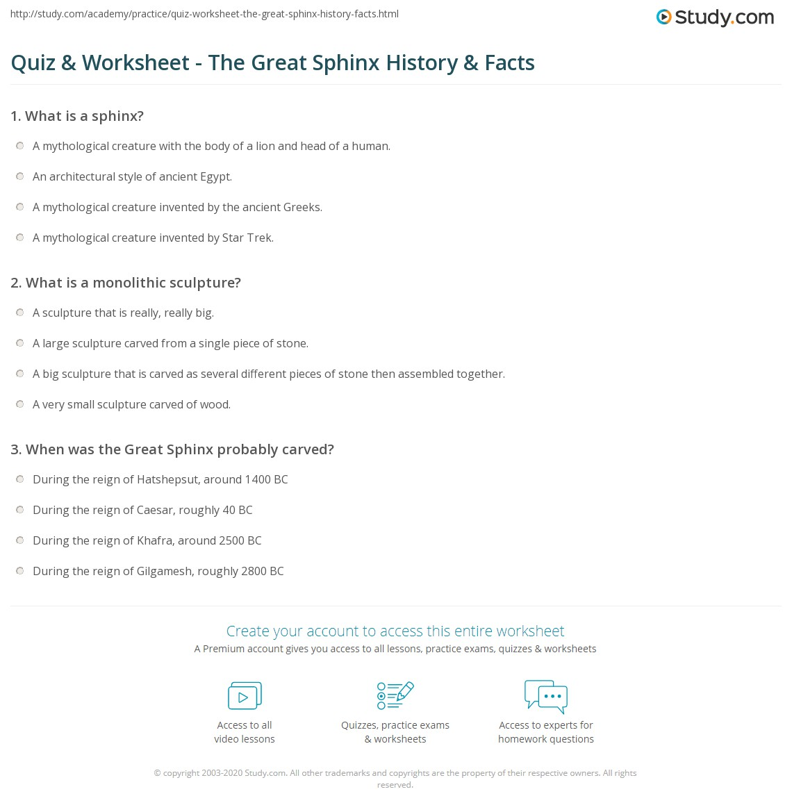 quiz worksheet the great sphinx history facts. Black Bedroom Furniture Sets. Home Design Ideas