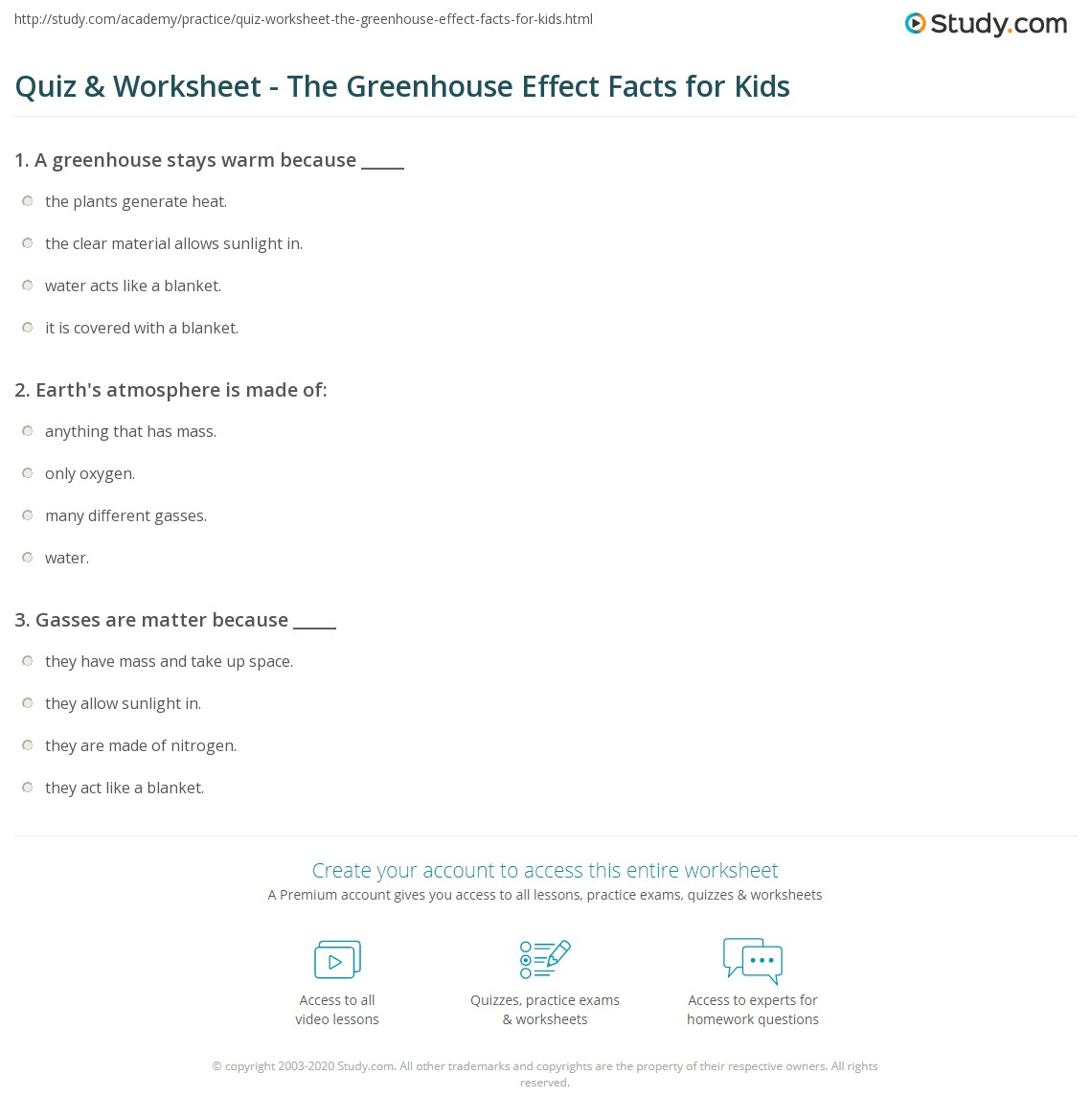 Quiz Worksheet The Greenhouse Effect Facts for Kids – Greenhouse Effect Worksheet