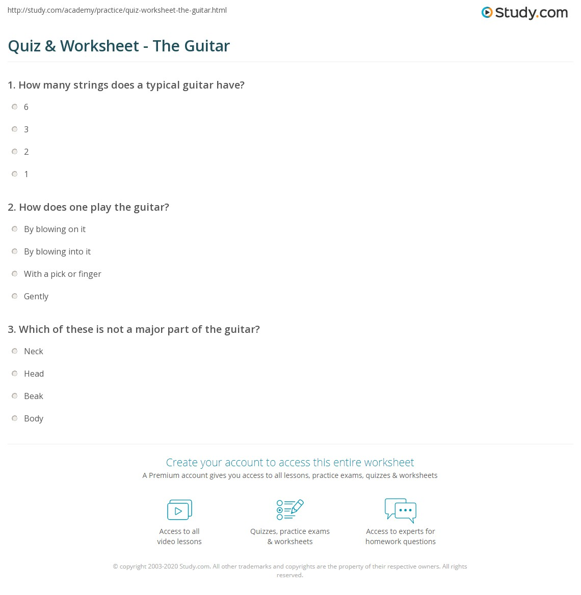 worksheet Guitar Worksheets For Beginners quiz worksheet the guitar study com print parts theory worksheet