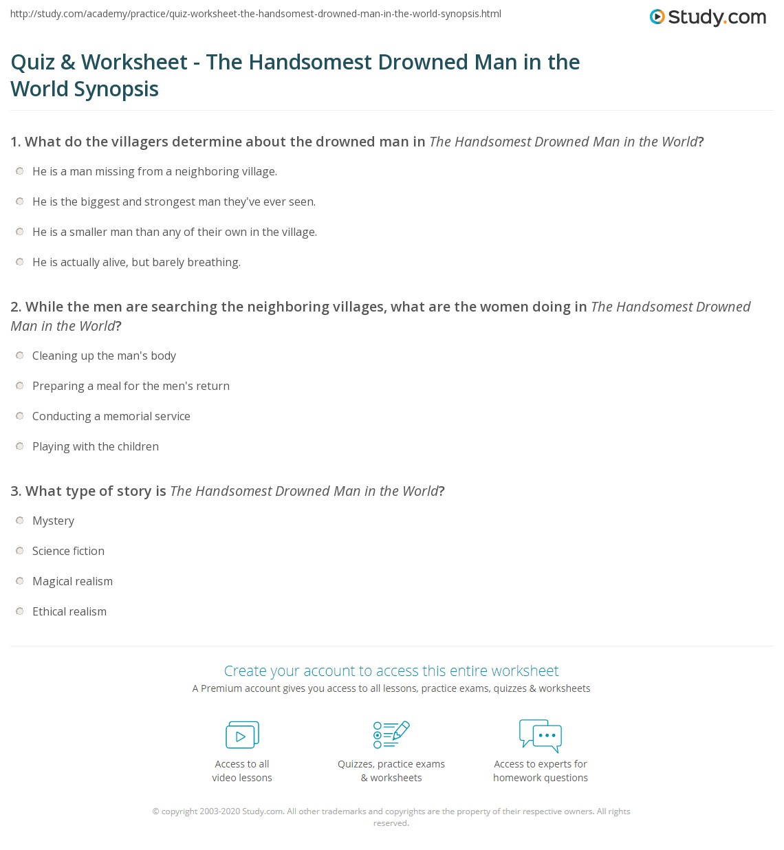 quiz worksheet the handsomest drowned man in the world  print the handsomest drowned man in the world summary worksheet
