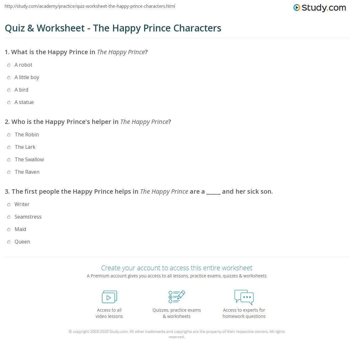 Quiz Worksheet The Happy Prince Characters Study