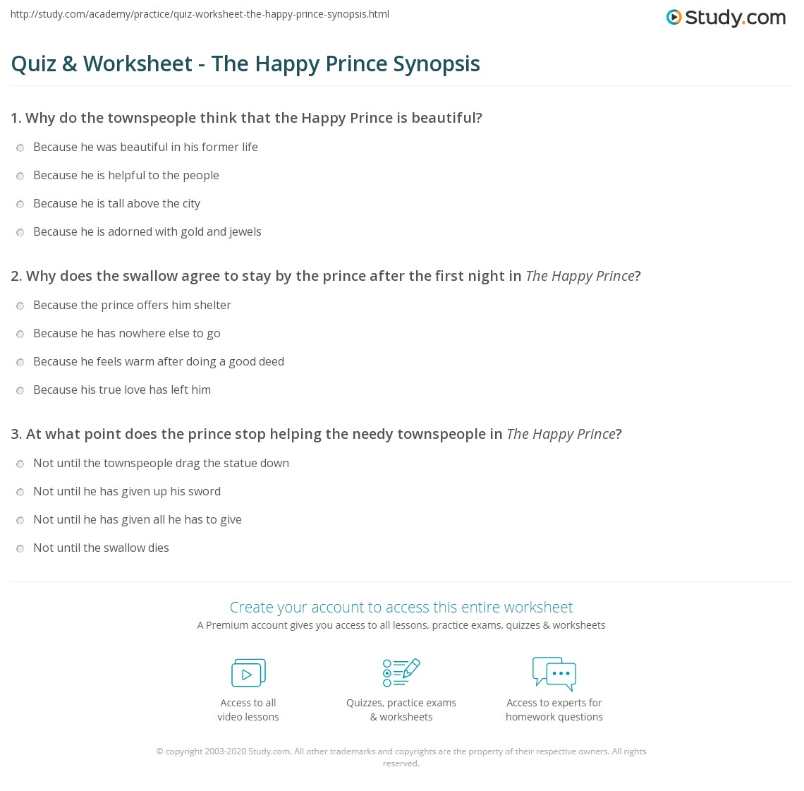 Quiz & Worksheet - The Happy Prince Synopsis | Study.com