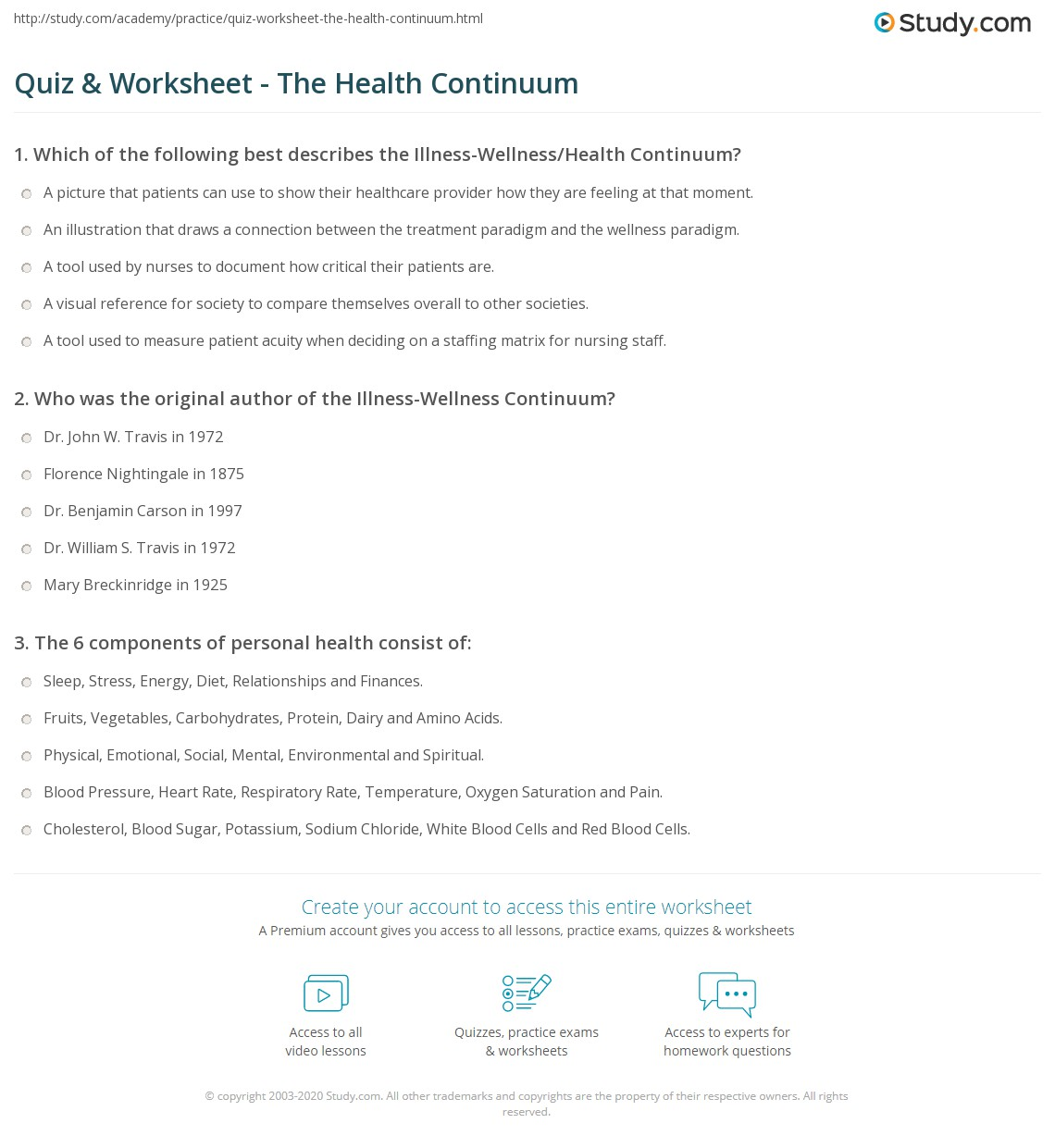 Worksheet Health And Wellness Worksheets quiz worksheet the health continuum study com print understanding a guide for nurses worksheet