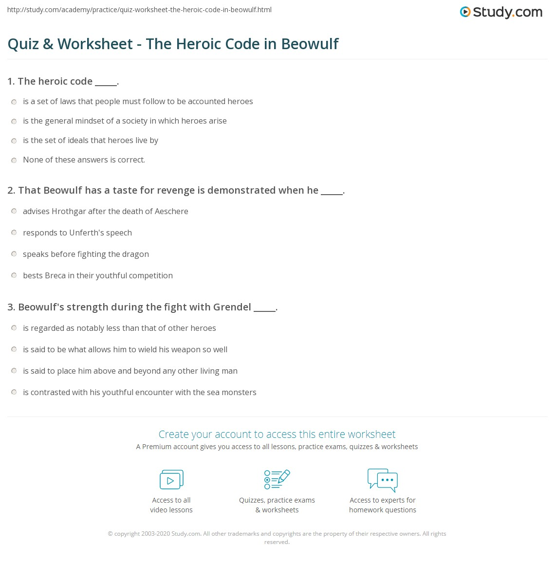 beowulf and the heroic code