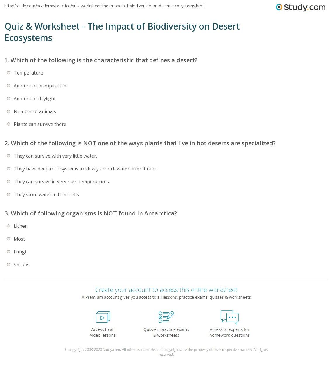 Quiz & Worksheet - The Impact of Biodiversity on Desert Ecosystems ...