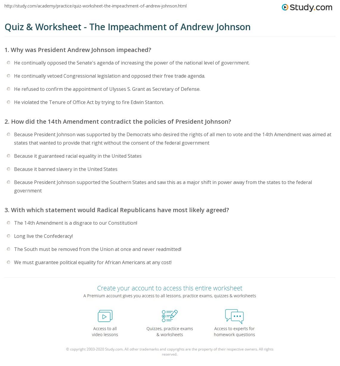 Quiz & Worksheet - The Impeachment of Andrew Johnson | Study.com