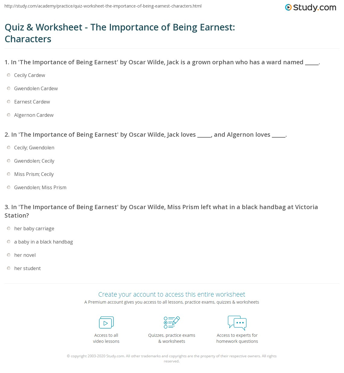worksheet Character Review Worksheet quiz worksheet the importance of being earnest characters print in by oscar wilde worksheet