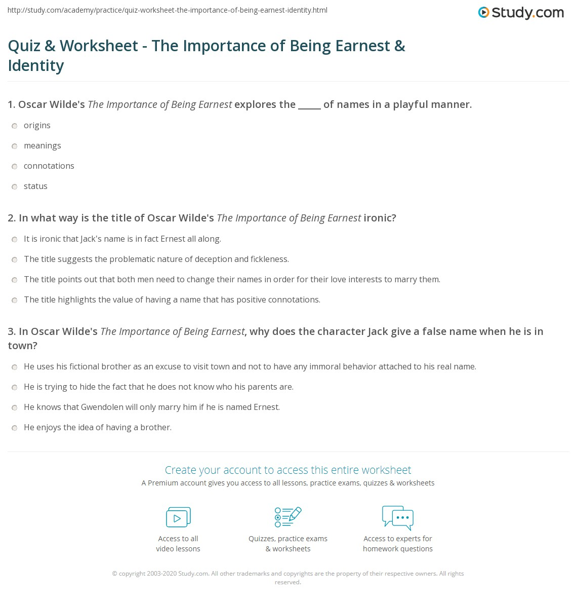 Quiz Worksheet The Importance Of Being Earnest Identity