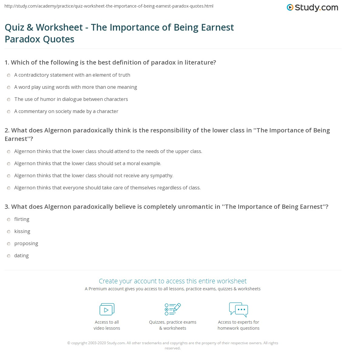 Quiz Worksheet The Importance Of Being Earnest Paradox Quotes