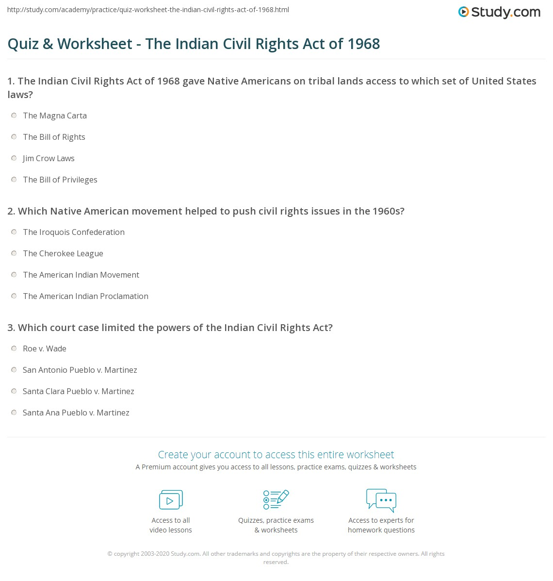 Worksheets Civil Rights Worksheets quiz worksheet the indian civil rights act of 1968 study com print worksheet