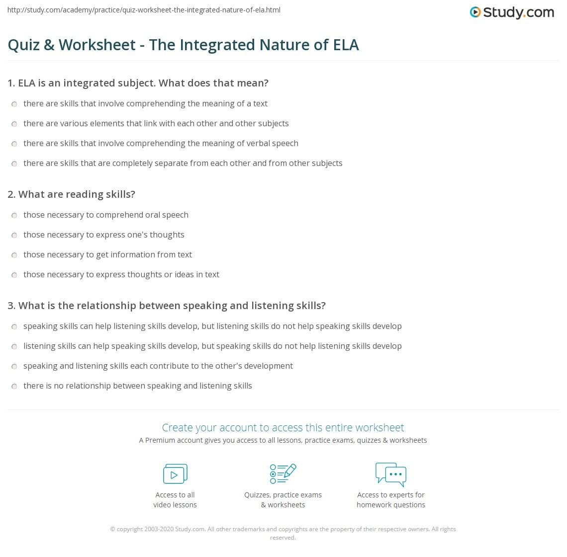 worksheet English Language Arts Worksheets quiz worksheet the integrated nature of ela study com print english language arts worksheet