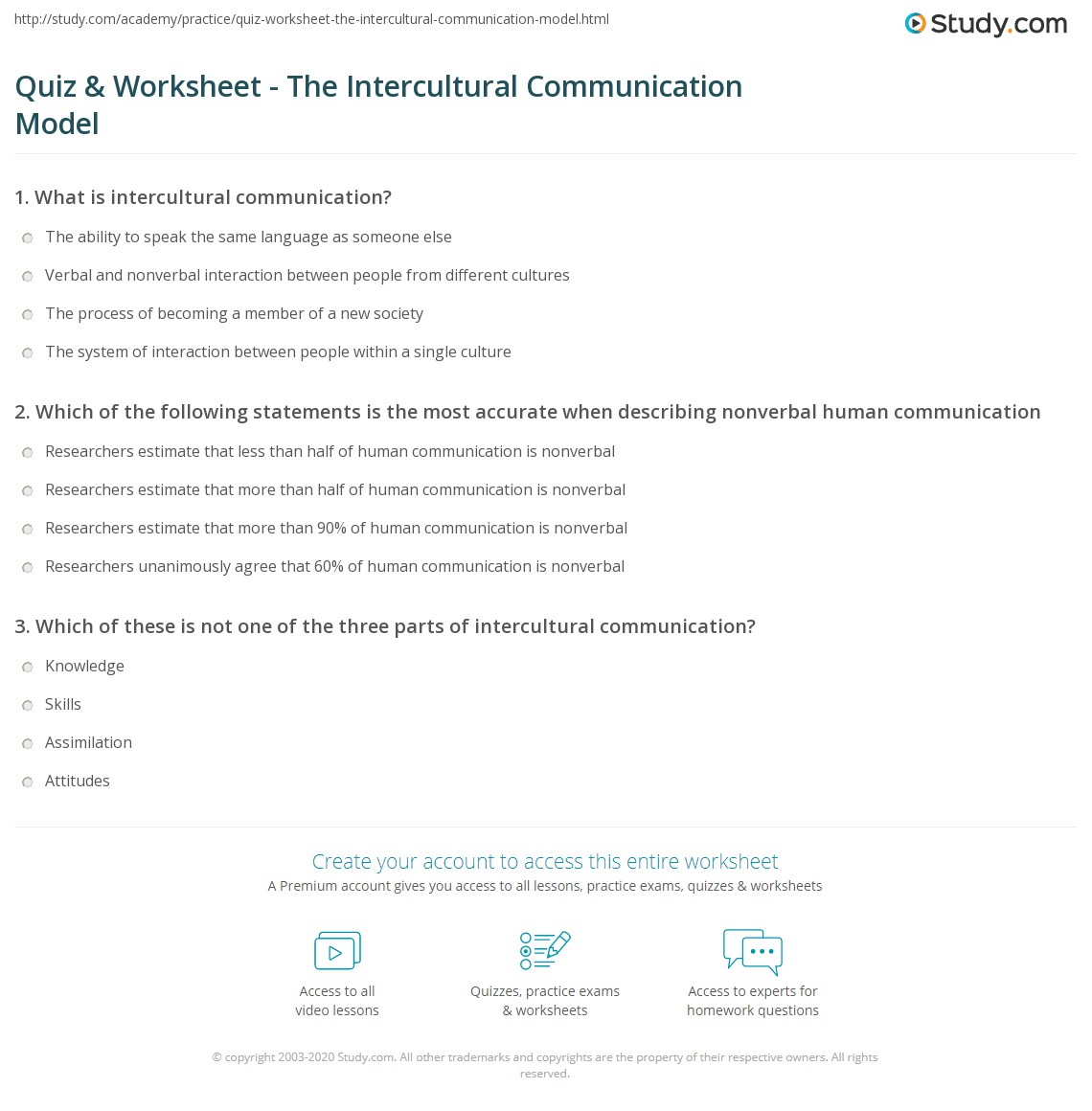 intercultural communication quiz Theory, research and practice of intercultural communication - free course  a  world of difference: exploring intercultural communication  section 1 quiz.