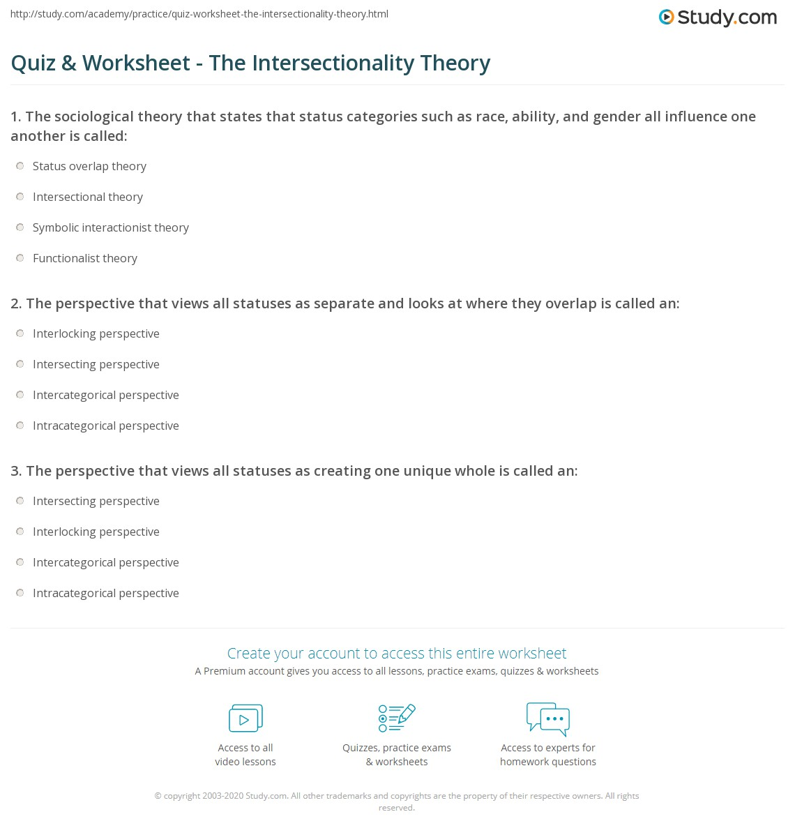 Quiz Worksheet The Intersectionality Theory Study Com