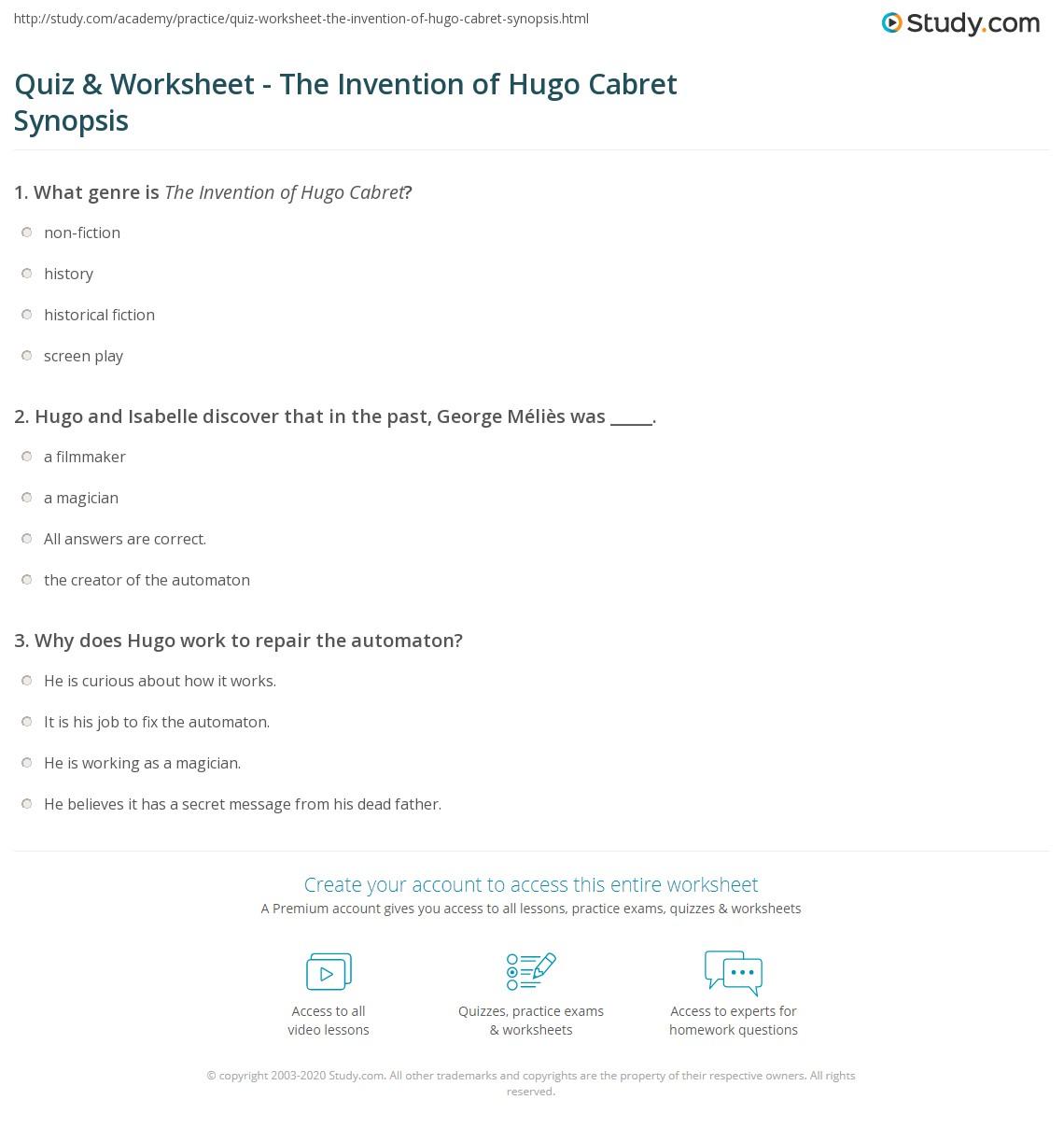 quiz worksheet the invention of hugo cabret synopsis. Black Bedroom Furniture Sets. Home Design Ideas