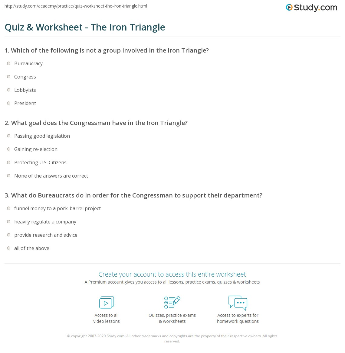 Quiz Worksheet The Iron Triangle Study