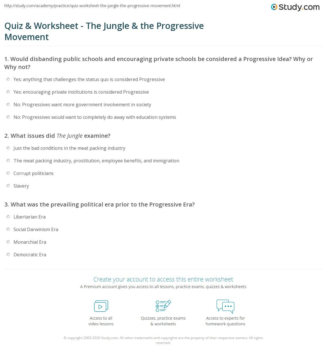 Quiz & Worksheet - The Jungle & the Progressive Movement ...