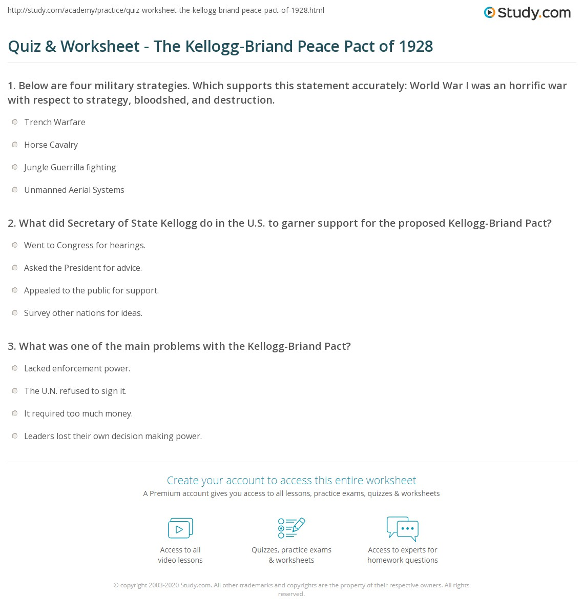 Quiz Worksheet The Kellogg Briand Peace Pact Of 1928 Study