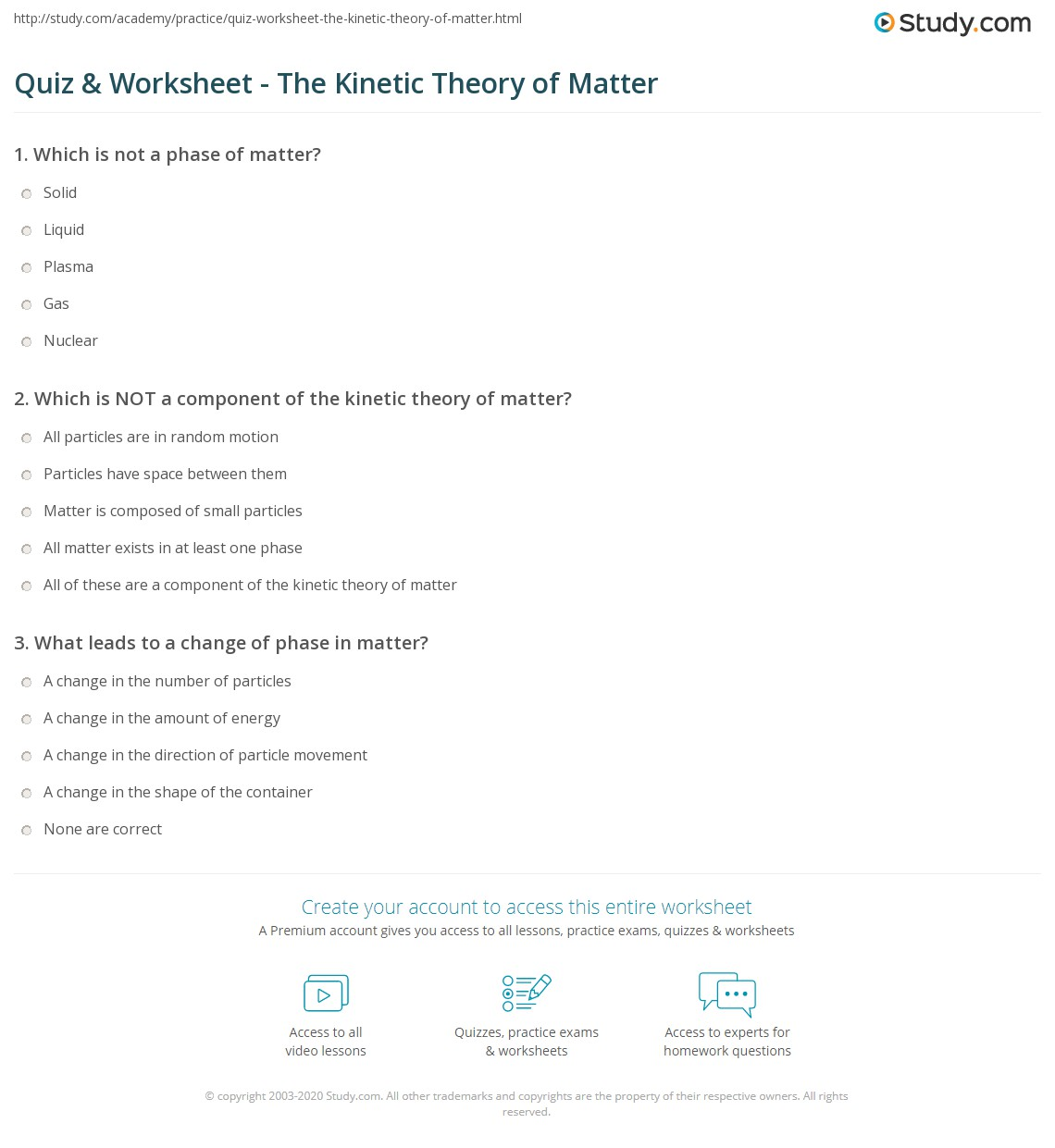 quiz worksheet the kinetic theory of matter. Black Bedroom Furniture Sets. Home Design Ideas