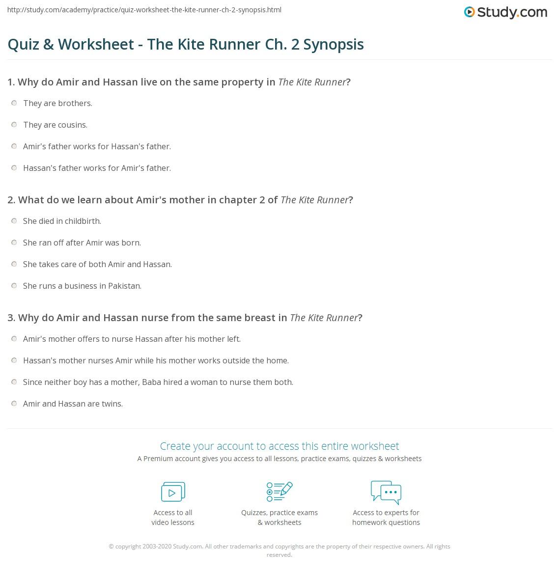 Quiz & Worksheet - The Kite Runner Ch  2 Synopsis | Study com