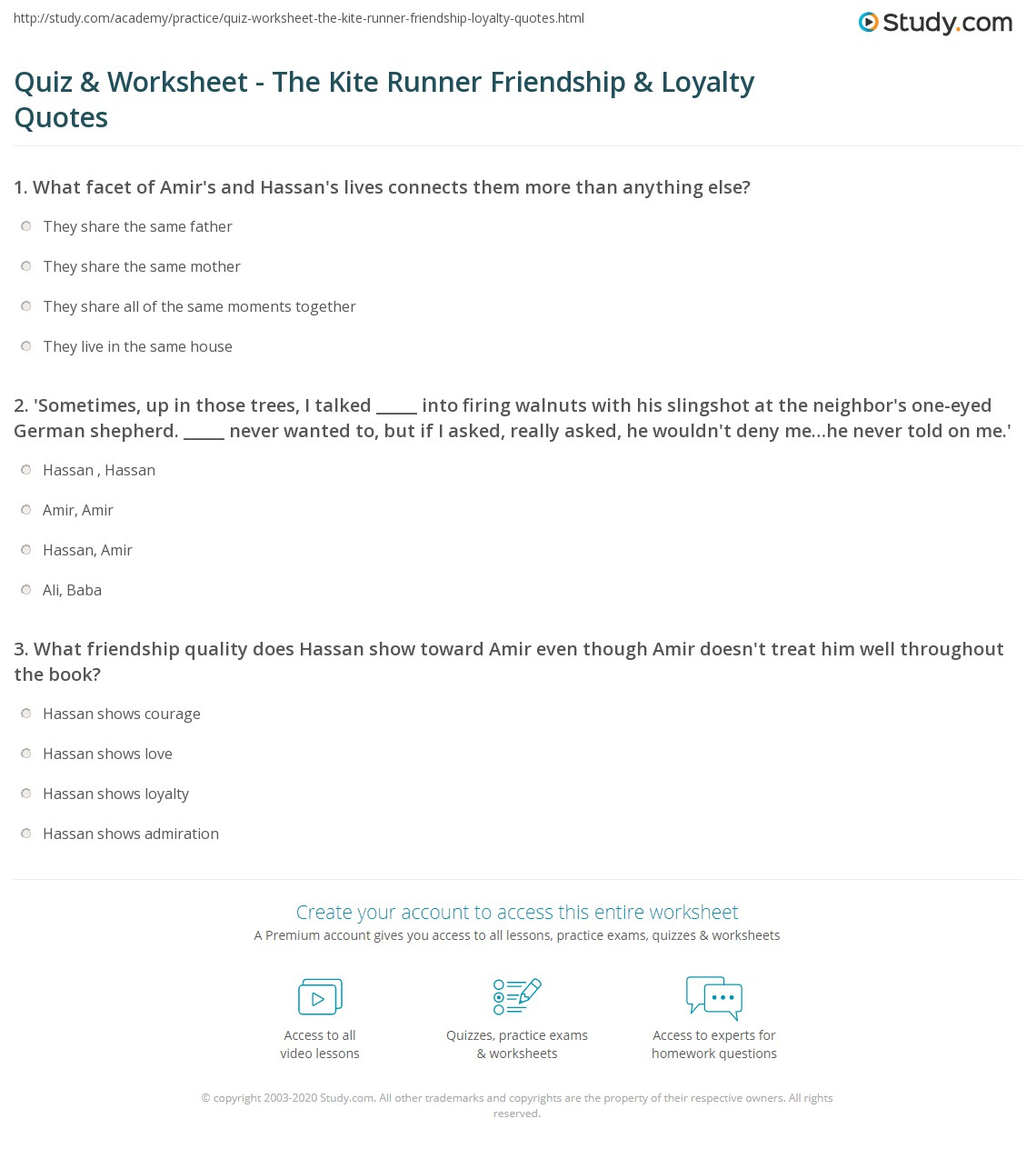 Quotes About Loyalty And Friendship Amazing Quiz & Worksheet  The Kite Runner Friendship & Loyalty Quotes