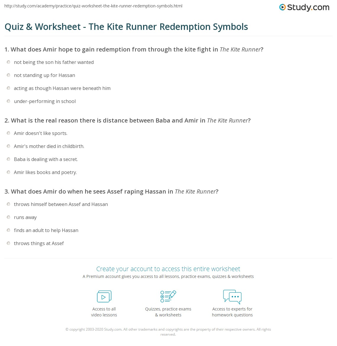 Quiz Worksheet The Kite Runner Redemption Symbols Study