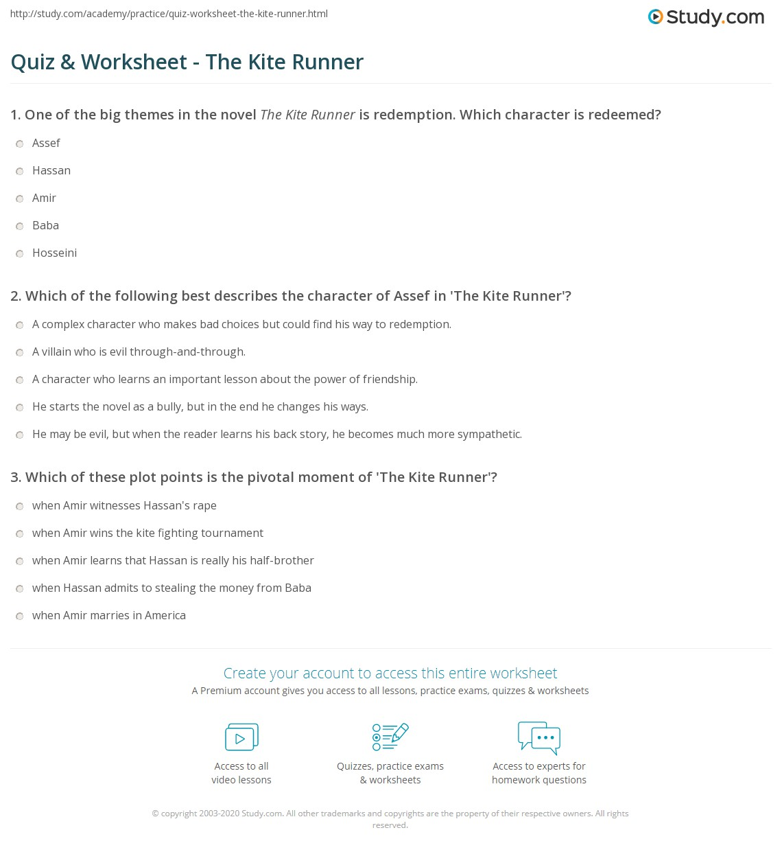quiz worksheet the kite runner study com print the kite runner summary characters themes worksheet