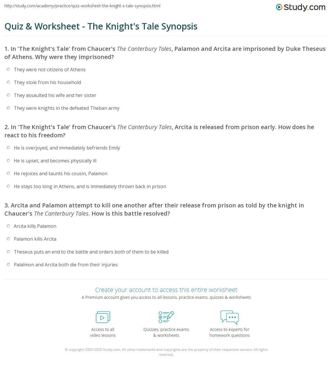 chaucer knights tale