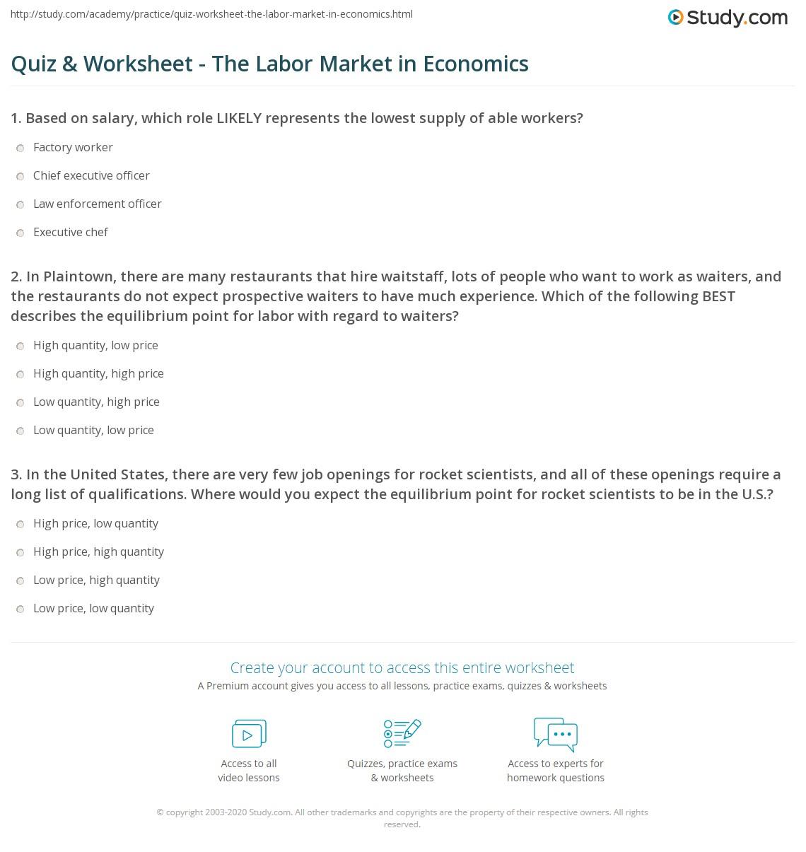 math worksheet : quiz  worksheet  the labor market in economics  study  : Market Math Worksheets