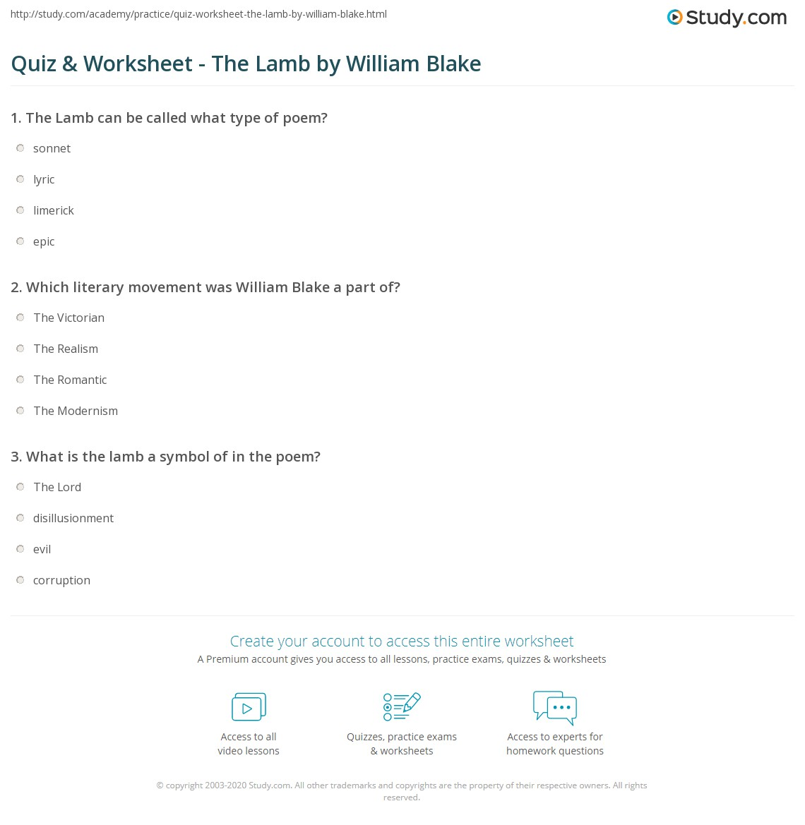 Quiz Worksheet The Lamb By William Blake Study