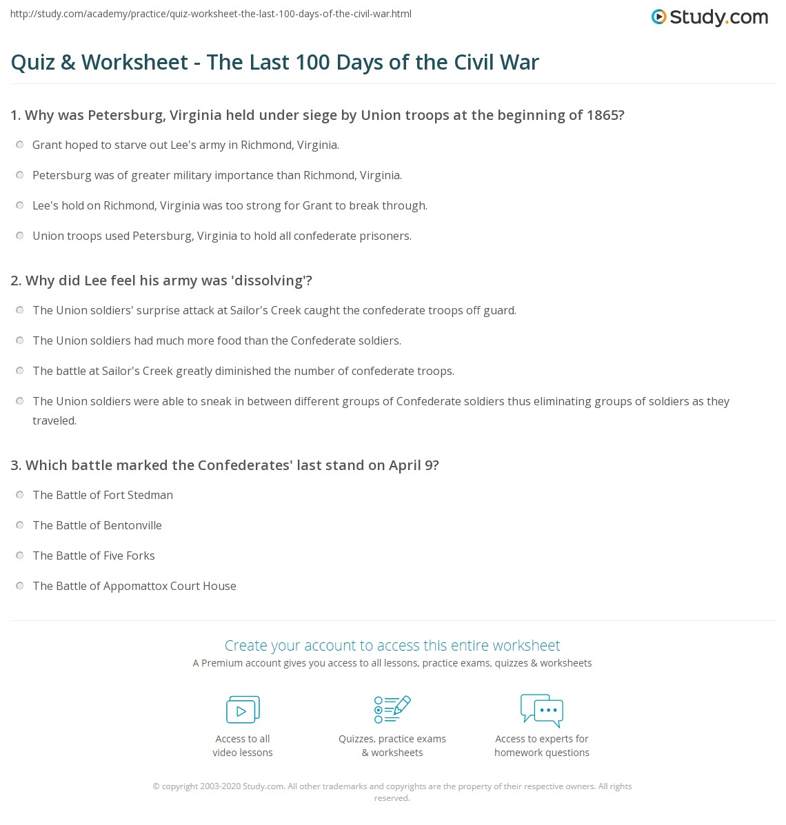 Quiz Worksheet The Last 100 Days Of The Civil War
