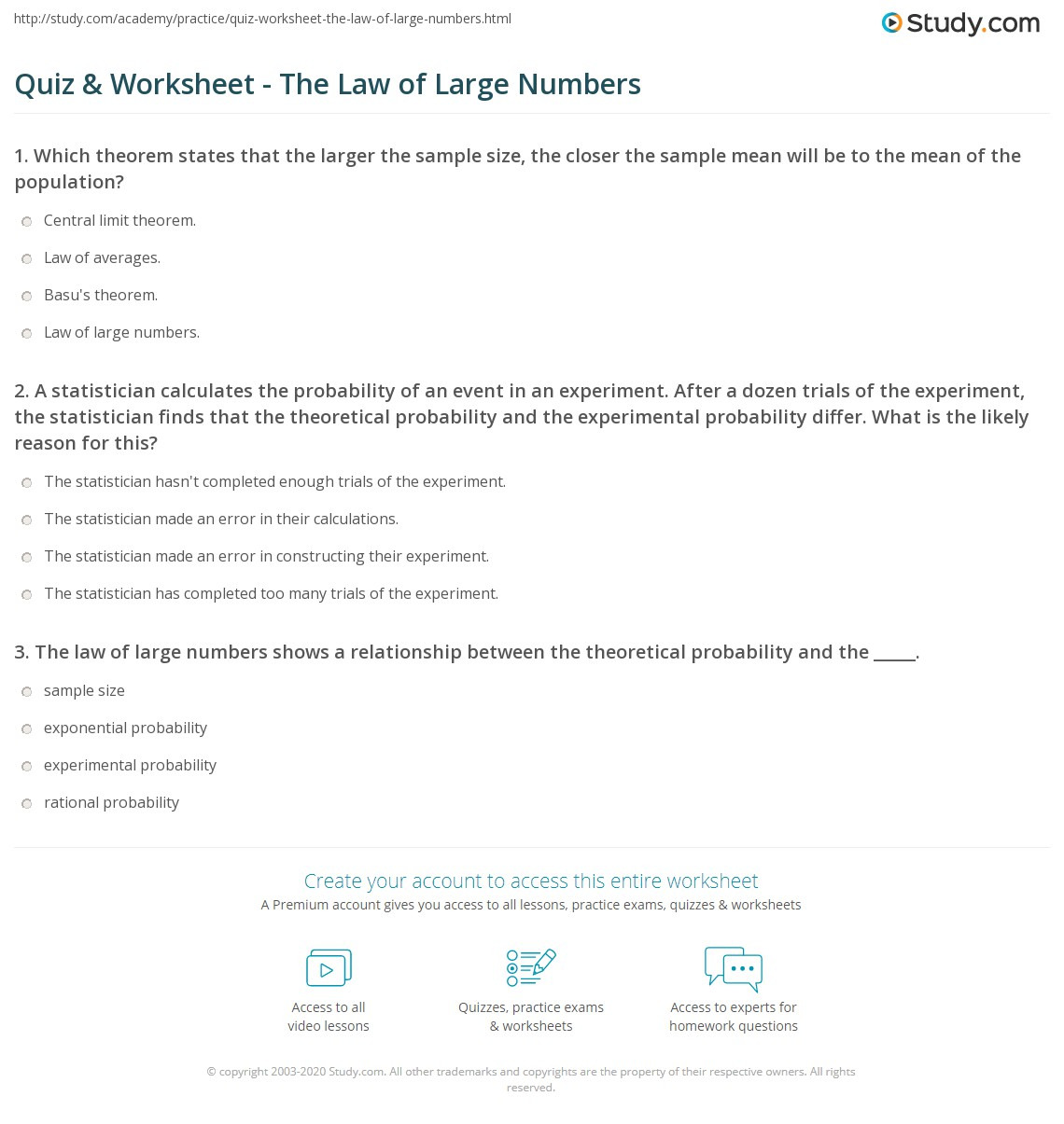worksheet Theoretical Probability Worksheet quiz worksheet the law of large numbers study com after a dozen trials experiment statistician finds that theoretical probability and experimental differ