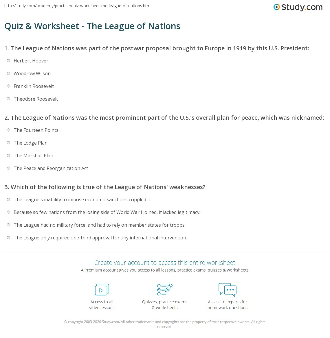 Quiz Worksheet The League Of Nations Study Com