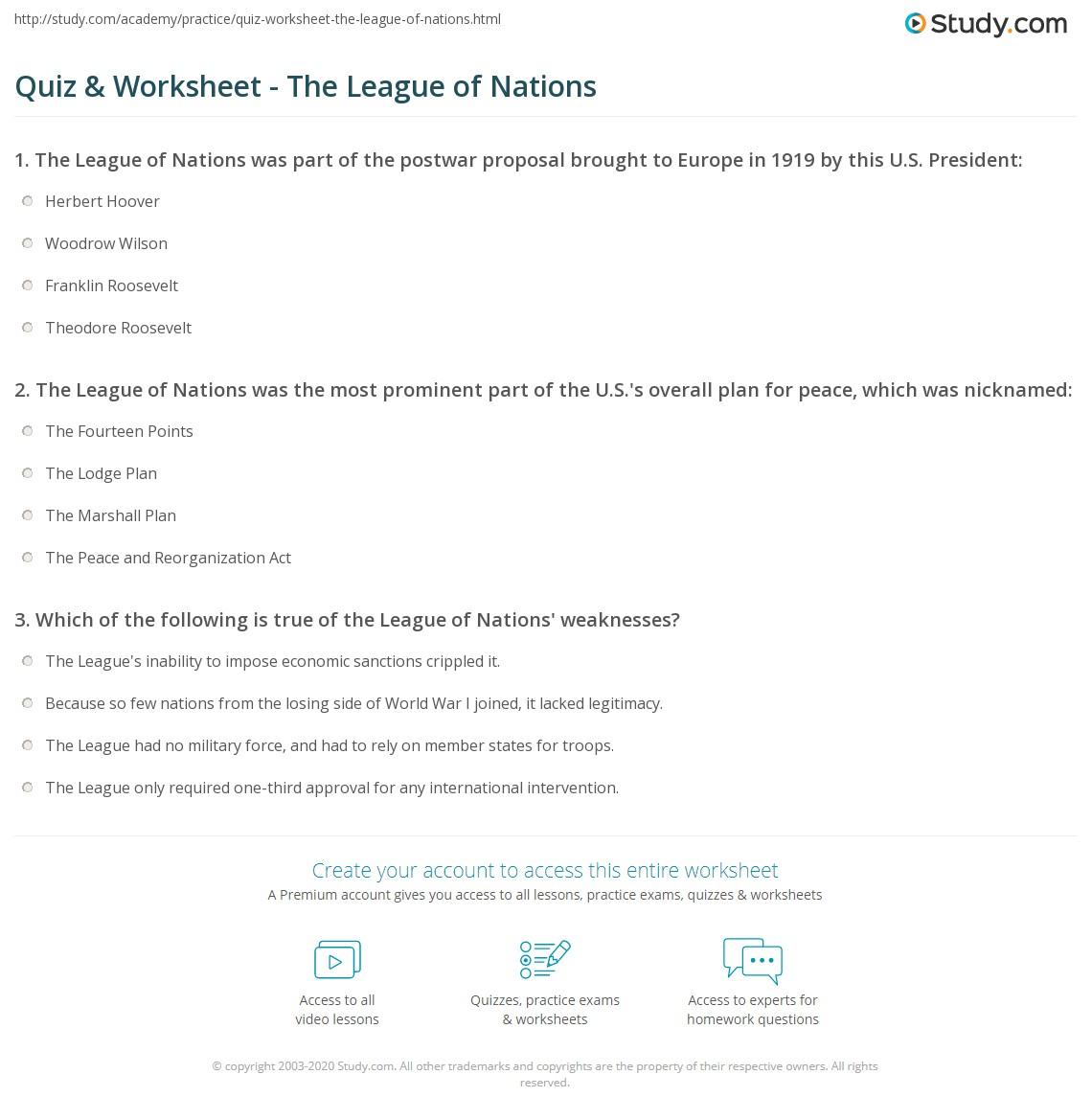 quiz worksheet the league of nations. Black Bedroom Furniture Sets. Home Design Ideas