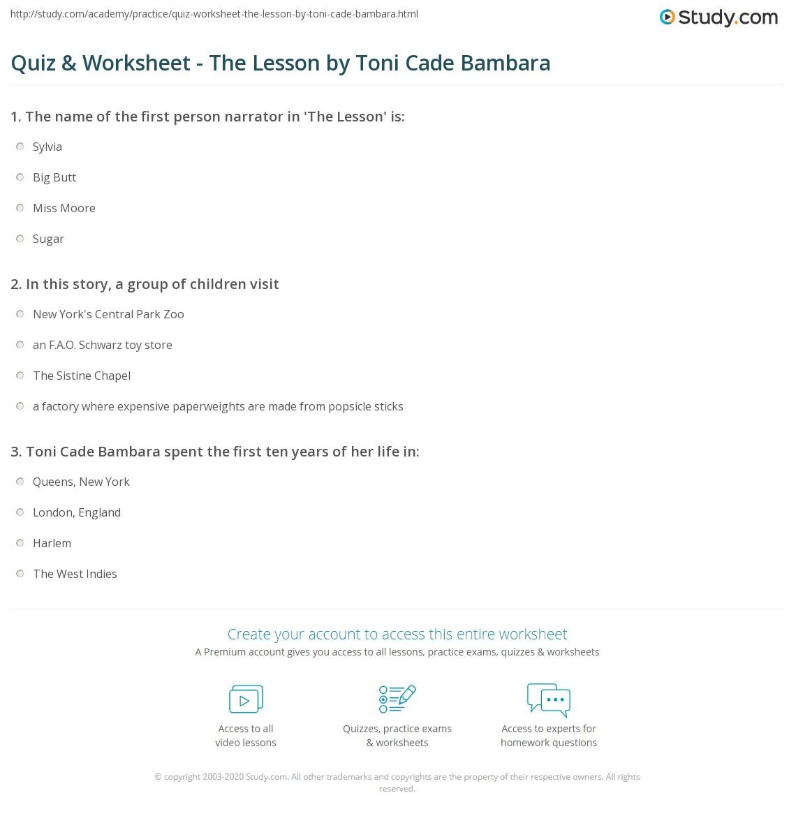 the lesson bambara summary