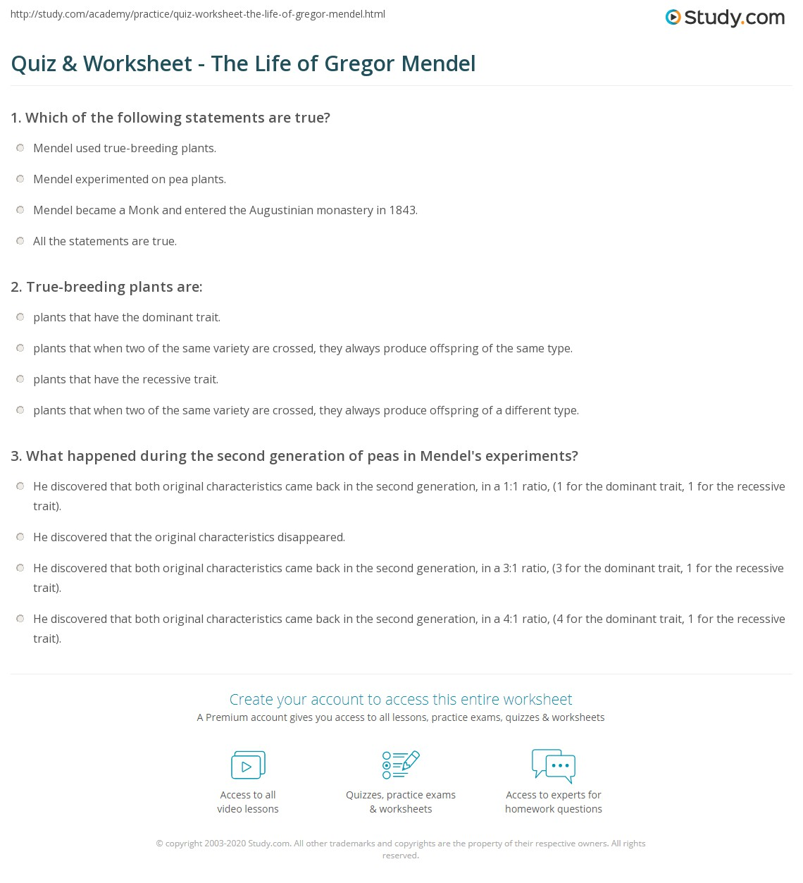 worksheet Gregor Mendel Worksheet quiz worksheet the life of gregor mendel study com print biography facts timeline worksheet