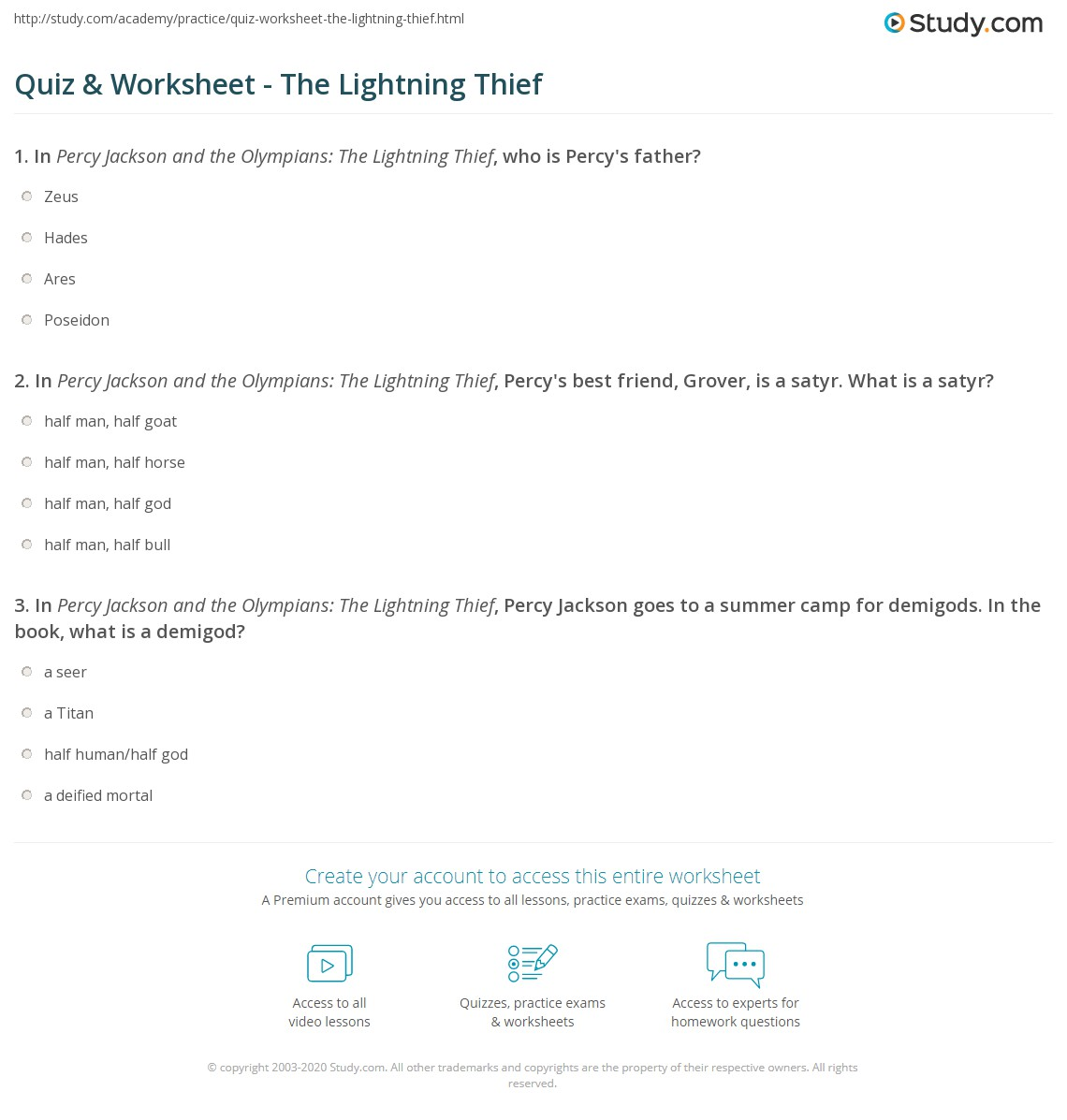 quiz worksheet the lightning thief study com