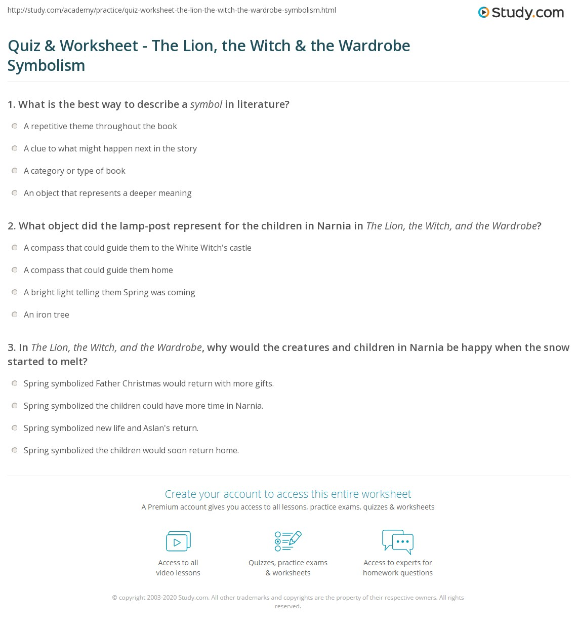 Quiz worksheet the lion the witch the wardrobe symbolism print the lion the witch the wardrobe symbolism worksheet buycottarizona