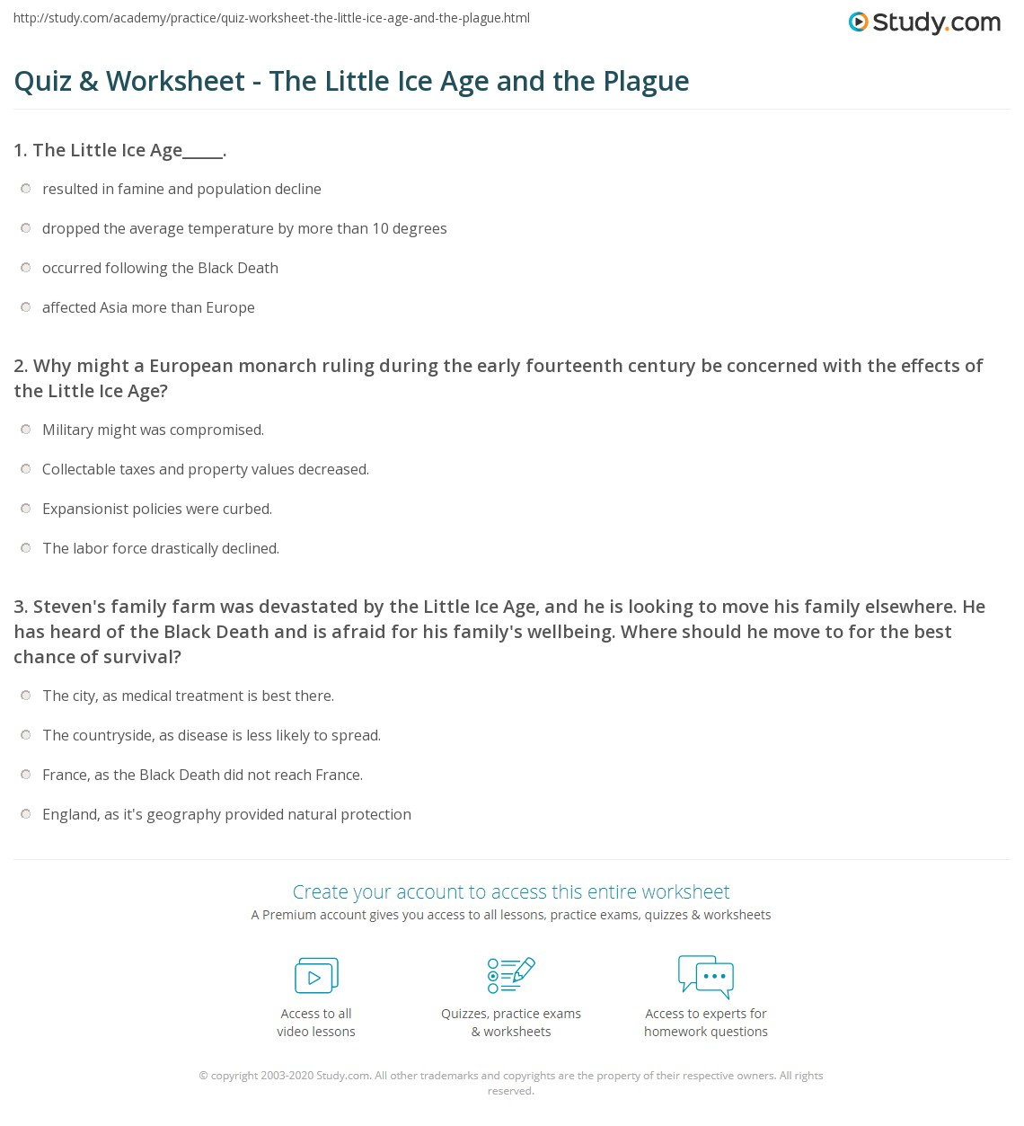Quiz & Worksheet - The Little Ice Age and the Plague | Study.com